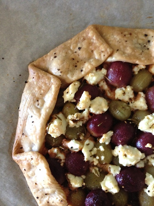 closeup grape feta galette