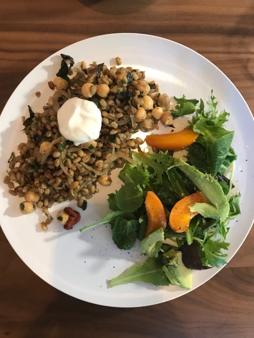 pilaf with salad